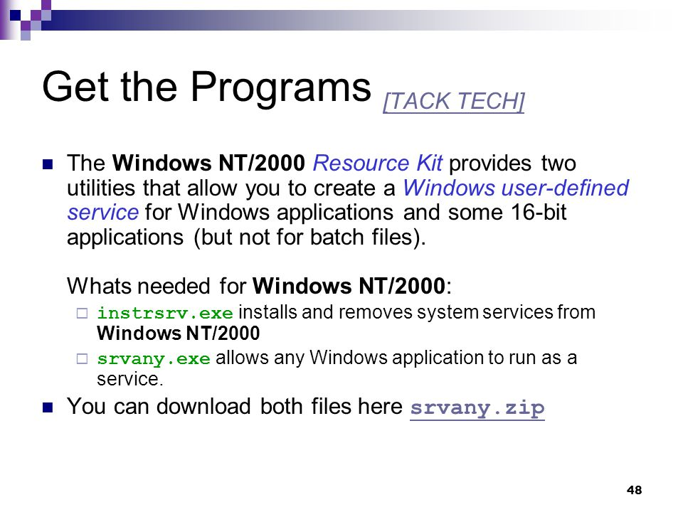 Get the Programs [TACK TECH]